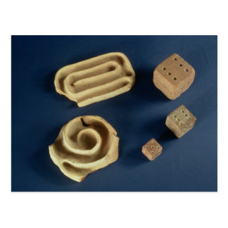 Sandstone dice and terracotta maze game, Harappa, Postcard