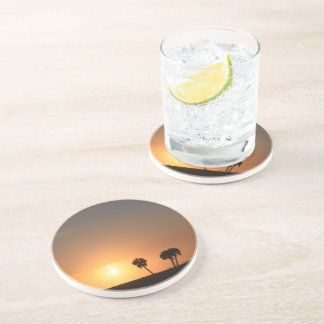Sandstone Drink Coast with a Sunset Picture Coaster