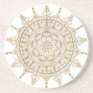 Sandstone Drink Coaster Golden Mandala Design