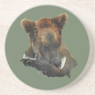 Sandstone Drink Coaster w/ grizzly holding fish
