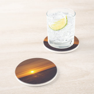 Sandstone Drink Coaster with a Sunset Picture