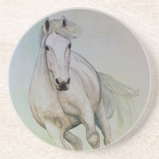 Sandstone Drinks Coaster with `White Horse'