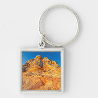 Sandstone Formations At The White Pocket Silver-Colored Square Key Ring