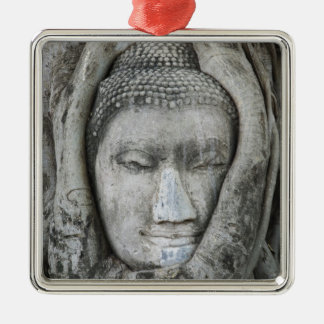 Sandstone head of Buddha surrounded by tree Silver-Colored Square Decoration
