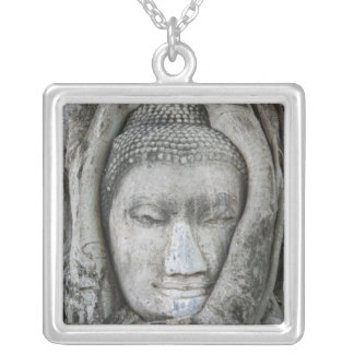 Sandstone head of Buddha surrounded by tree Silver Plated Necklace