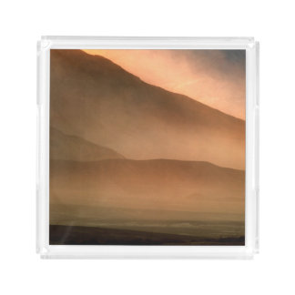 Sandstorm at Mesquite Sand Dunes, Sunset Acrylic Tray