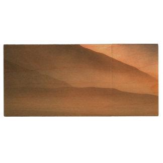 Sandstorm at Mesquite Sand Dunes, Sunset Wood USB 2.0 Flash Drive