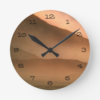 Sandstorm at Mesquite Sand Dunes, Sunset Round Clock