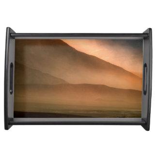Sandstorm at Mesquite Sand Dunes, Sunset Serving Tray