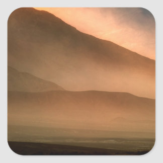 Sandstorm at Mesquite Sand Dunes, Sunset Square Sticker