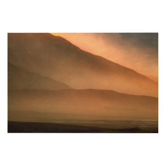 Sandstorm at Mesquite Sand Dunes, Sunset Wood Wall Art