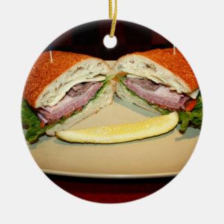 Sandwich Smile Round Ceramic Decoration