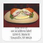 Sandwich Smile Square Stickers