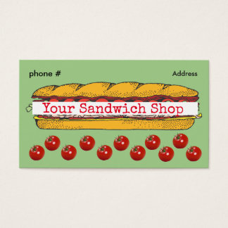 Sandwich Sub Shop Loyalty Punch Business Cards