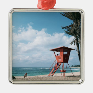 Sandy Beach 5 Silver-Colored Square Decoration