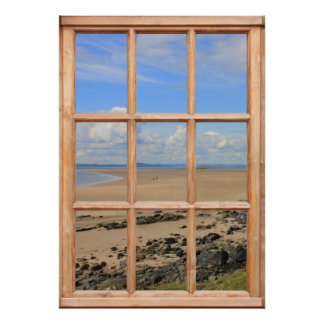 Sandy Beach and Ocean View from a Window Poster