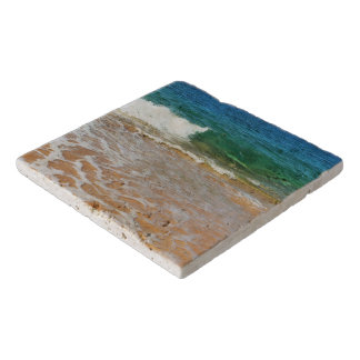 Sandy Beach and Waves Stone Trivet