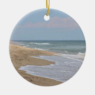 Sandy beach at the National Seashore on Cape Cod Round Ceramic Decoration