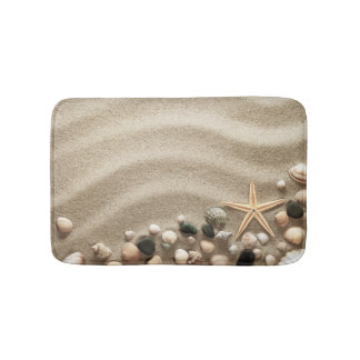 Sandy Beach Background With Shells And Starfish Bath Mat