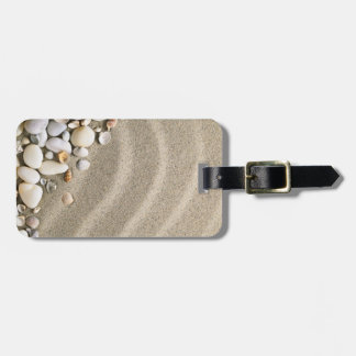 Sandy Beach Background With Shells And Stones Luggage Tag
