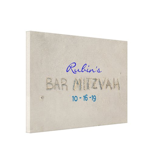 SANDY BEACH Bat Mitzvah Memory Sign-In Board Canvas