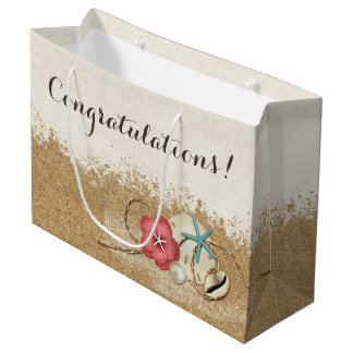 Sandy Beach Hibiscus & Shells Wedding Personalized Large Gift Bag