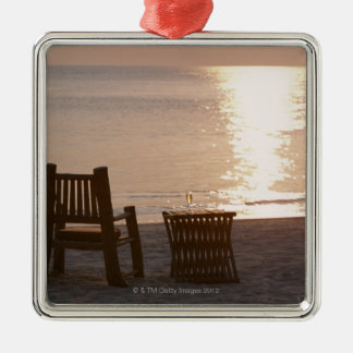 Sandy Beach of Sunset 2 Silver-Colored Square Decoration