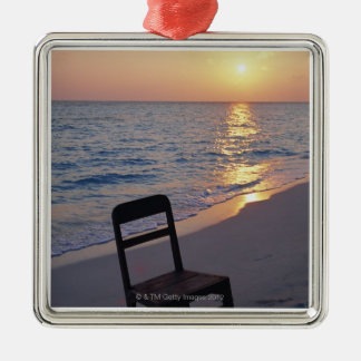 Sandy Beach of Sunset Silver-Colored Square Decoration