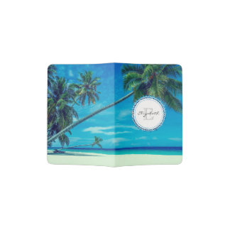 Sandy Beach with Tropical Palm Trees Monogram Passport Holder