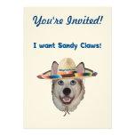 Sandy Claws Beach Dog Custom Announcement