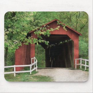 Sandy Creek Covered Bridge In Water Color Mouse Mat