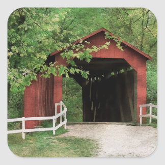 Sandy Creek Covered Bridge In Water Color Square Sticker