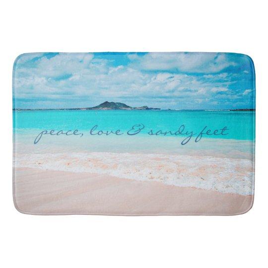 """Sandy Feet"" Quote Blue Ocean & Sandy Beach"