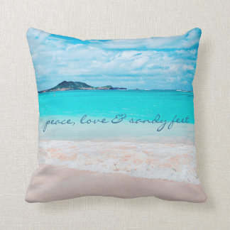 """Sandy feet"" quote turquoise beach photo pillow"