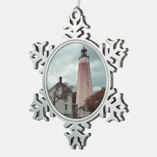 Sandy Hook Lighthouse Snowflake Pewter Christmas Ornament