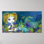 """""""Sandy"""" Rainbow Sea Turtle Mermaid Art Poster"""