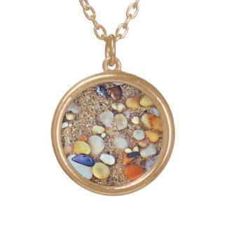 Sandy Rocky Beach Small Round Gold Finish Necklace