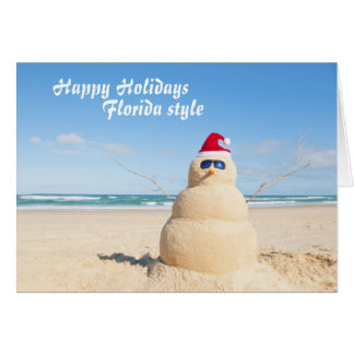 Sandy Snowman Holiday Card from Florida