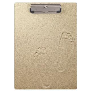Sandy Summer Beach Background With Footprints Clipboard