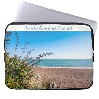Sandy sunny beach laptop sleeve