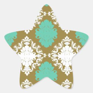sandy tan and aqua diamond damask pattern sticker