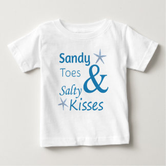 Sandy Toes and Salty Kisses Beach Life Quote Baby T-Shirt