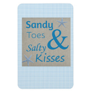 Sandy Toes and Salty Kisses Beach Life Quote Rectangular Photo Magnet