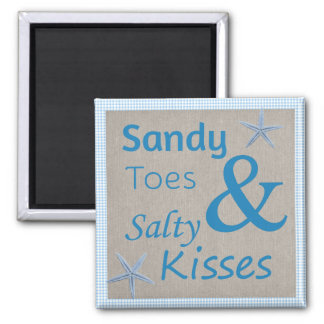 Sandy Toes and Salty Kisses Beach Life Quote Square Magnet