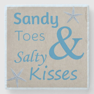 Sandy Toes and Salty Kisses Beach Life Quote Stone Coaster