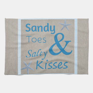 Sandy Toes and Salty Kisses Beach Life Quote Tea Towel