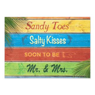 "Sandy Toes Salty Kisses Couple's Shower Invitation 5"" X 7"" Invitation Card"