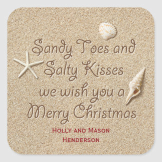Sandy Toes Salty Kisses Merry Christmas Sticker