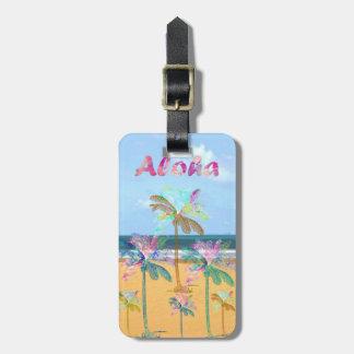 Sandy tropical beach watercolor palm trees bag tag