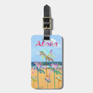 Sandy tropical beach watercolor palm trees luggage tag